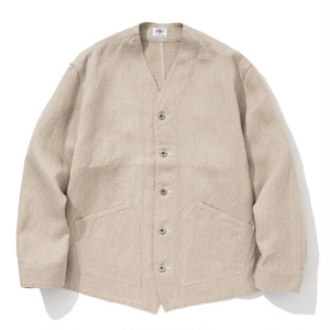 "Just Right ""Engineers Jacket Linen Hickory"" Beige"