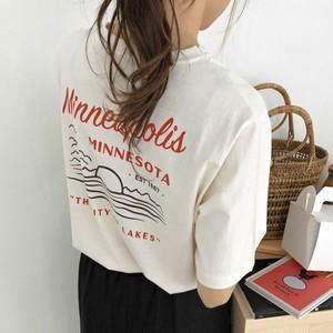 【トップス】ファッション半袖アルファベットラウンドネックプルオーバーTシャツ44554010