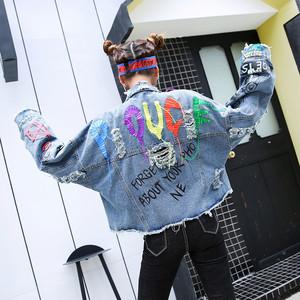 9605秋春 デニムジャケット レディース ゆったり デニムコート  Gジャン 長袖 ジージャン BF風 大きいサイズ 原宿系 ダメージ スタッズ