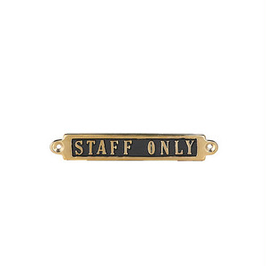 "【GS559-326ST】Brass sign ""STAFF ONLY"" #サイン #真鍮 #アンティーク"