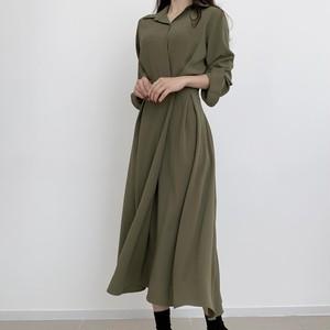 【ワンピース】今日のコーデ ファッション 無地 切り替え 折襟 着痩せ ハイウエスト カジュアルワンピース42940571