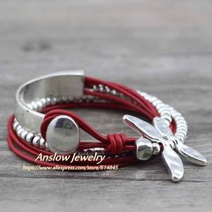 ファッションジュエリー Drongfly ワイヤーラップレザーブレスレット LOW0585LBred