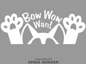 イヌ 犬 鳴き声 dog bow wow wan! ステッカー かわいい ワン くっつく 肉球 シール 車に貼れる ドッグ 犬乗ってます 白 ホワイト