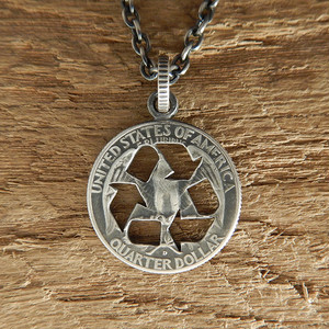 【受注生産】RECYCLE MARK CUTCOIN PENDANT 25¢【WASHINGTON QUARTER DOLLAR】