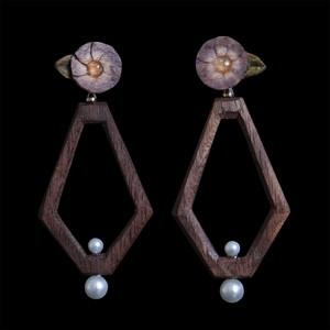 <受注>まる花と多角形(ブラック)/耳飾り(※セット販売)
