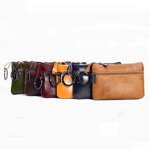 Leather Small Mini Purse Wallet Purse Wallet Bag Holder Mini Pouch Zipper ミニ レザー 天然 財布 パスケース ウォレット (HF99-9611648)
