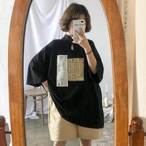 【トップス】中国系和風春夏ボタンシングルブレスト半袖Tシャツ