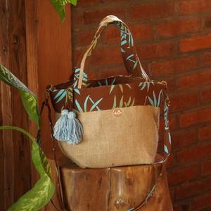 2Way Mini Kinchaku ToteBag - Palm leaf Batik / Brown -