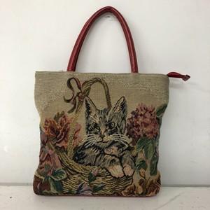 猫の柄のゴブラン織ハンドバッグ