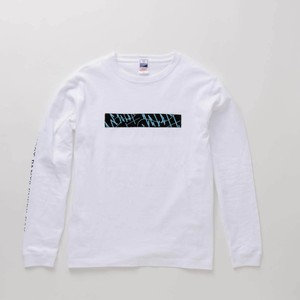 L/S T-Shirt BOX WAVES White × Blue