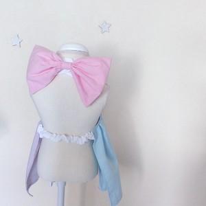 《出産祝い/名入れ》切り替えカラー ゆめかわ❤︎ドレスエプロン ワンピース 女の子 エレガント ベビー用 70-90cm