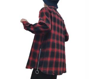 [COOL]ファスナー付きビックサンズチェックシャツ 2カラー