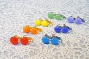 ひとつぶガラスのイヤリング~虹色~