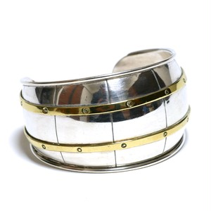 Vintage Sterling Silver Mexican Wide Modern Bangle