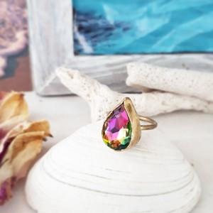 【6号】brass cryrtal stone ring