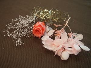【送料込み】ハーバリウムにも♪薔薇付きプリザーブドフラワー紫陽花とかすみ草セット ピンク 552
