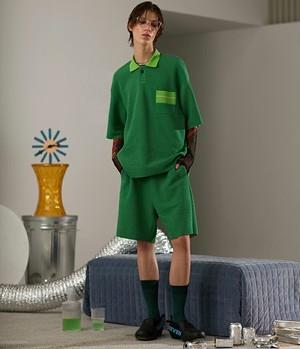 メンズボーダーポロシャツ。ロングタイプグリーンカラー