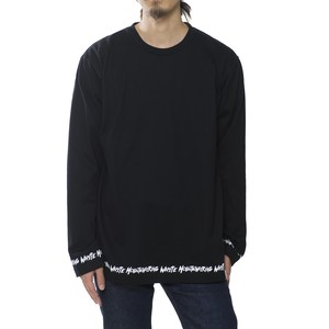 HEM PRINTED LONG SLEEVE PULLOVER - BLACK