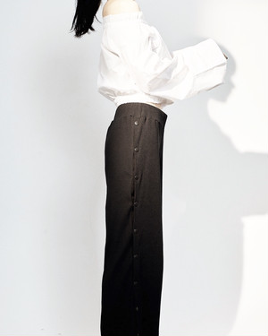 SIDE LONG SLIT RIB PANTS