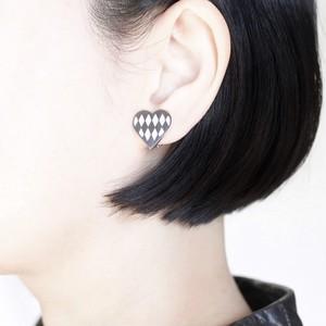 Silver Earrings / Rhombus / Hearts / White