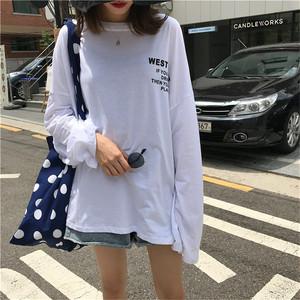 【トップス】シンプル長袖ラウンドネックアルファベットTシャツ22539518