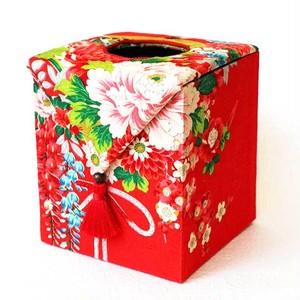 和風インテリア雑貨 アンティーク着物・古布リメイク ティッシュボックス 赤・花薬玉紋様