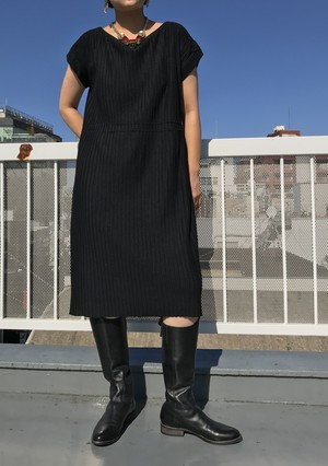 Vintage black rib knit dress