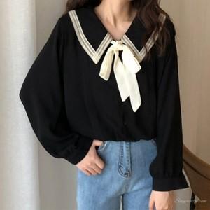 【トップス】韓国系スウィートリボンレースアップ配色合わせやすいシャツ