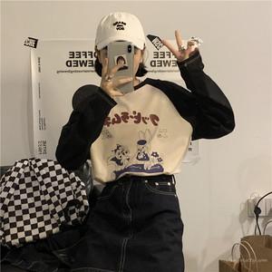 【トップス】目立つ海外トレンド文芸スタイル合わせやすい配色長袖Tシャツ