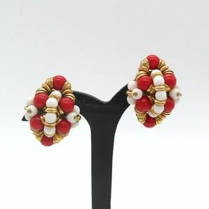 France ヴィンテージイヤリング(red / white / gold)