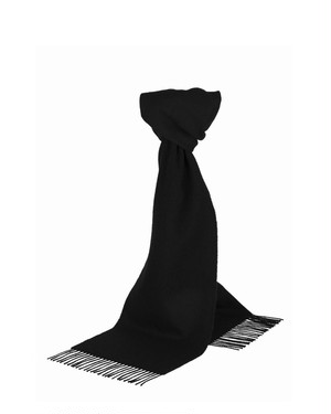 Glen Prince Classic Plain Lambswool Scarf Black