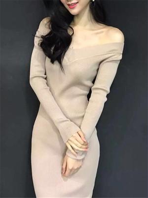 【dress】Solid color V neck maxi knitted dress