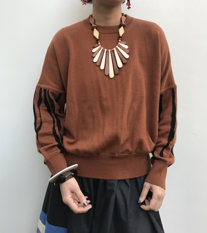 Vintage brown  animal knit tops ( ヴィンテージ  茶色 アニマル柄 ニット トップス )