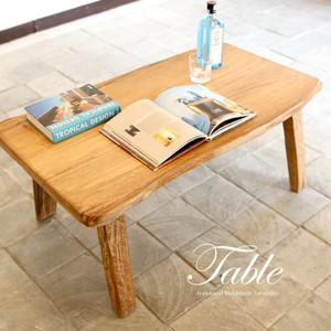 new!無垢チーク材の一枚板テーブル 50-165 木製ローテーブル センターテーブル 座卓 コーヒーテーブル