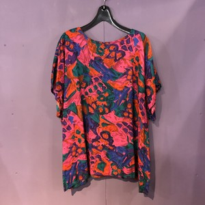 80's colorful pattern rayon tops[B967]