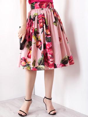 Pink Flower フレアスカート