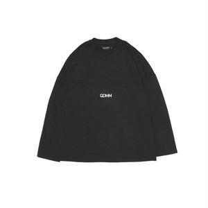 QDMM logo D-shoulder Longsleeve ロングスリーブ カットソー ブラック