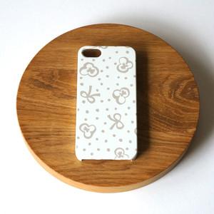 【iPhone / Android 各機種専用タイプ】側表面印刷*ハード型*スマホケース「スミレとリボンと水玉 ( baige grey ) ● 受注生産
