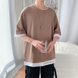 【メンズファッション】人気商品ファッション重ね着風ルーズなサイズラウンドネック襟なし無地メンズTシャツ31564533