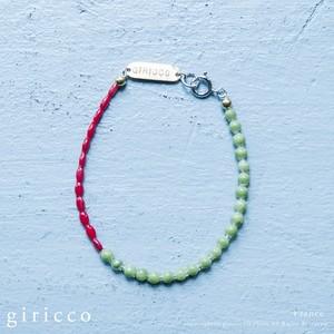 フランス製の綺麗な赤と植物系グリーンのスフレガラスのブレスレット。(TJ10944)