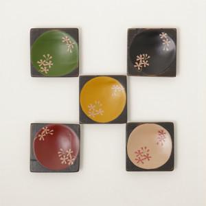 香川漆器 中田漆木 角こまめ皿 「桜」 5枚セット