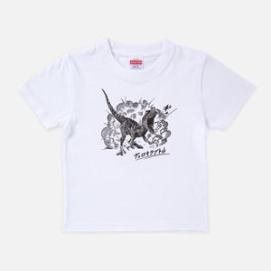 Tシャツ[リアルダイナソー:キッズ]ヴェロキバースト ホワイト色