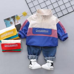 【子供服】ファッションスポーツ系コットンスタンドネック配色キッズ子供服 男の子 セットアップ二点セット22751679