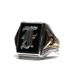 Vintage Ostby Barton Sterling Silver & 14k Gold Initial Ring