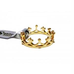 サージカルステンレス カエルの王冠リング ゴールド#9