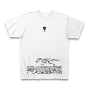 送料無料 一頭描くのが精一杯な骨の恐竜(Dinosaur)オリジナル メンズTシャツ