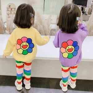 【ベビー服】【80-140】韓国ファッション長袖プリントラウンドネック子供服2020春セットアップ27689555