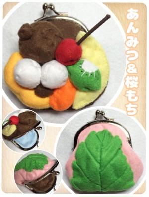 905【あんみつ&桜もちのがま口財布】スイーツ 和菓子 ポーチ ハンドメイド