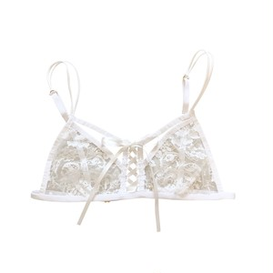 お届けまで1か月前後 FRENCH LEAVERS LACE TRIANGLE BRA / WHITE