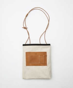 20/80 / CANVAS #6 SHOULDER BAG WITH LEATHER POCKETS